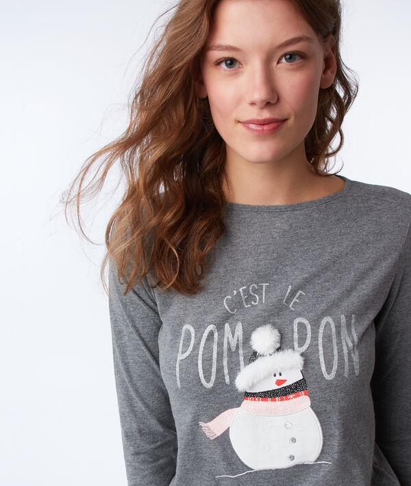 T-shirt z napisem i detalami ze sztucznego futerka