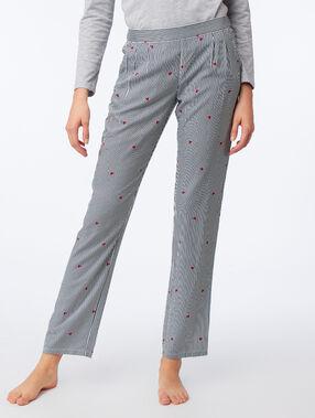 Spodnie w paski i serduszka gris.