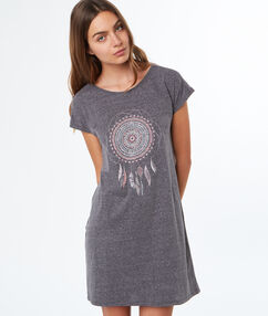 Koszulka nocna z motywem łapacza snów gris.