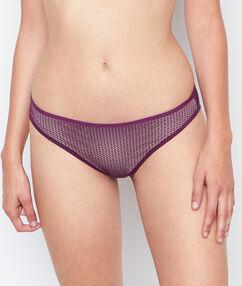 Majtki klasyczne uszyte z dwóch materiałów violet.