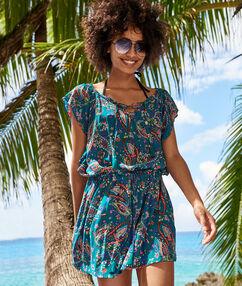 Wzorzysta tunika plażowa multicolore.