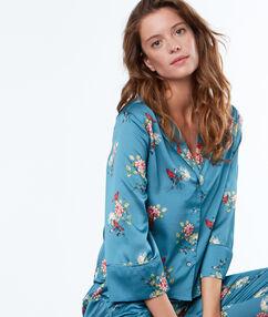 Męska koszula od piżamy z motywem kwiatowym bleu.