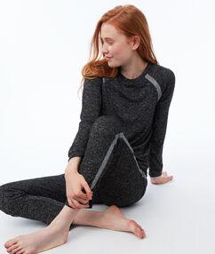 Spodnie w deseń typu melanż z paskami w kontrastowym kolorze gris.