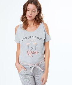 T-shirt z odkrytymi ramionami i napisem gris.