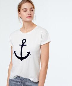 T-shirt z nadrukiem kotwicy blanc.