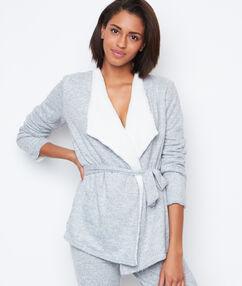 Bluzka homewear z futerkiem gris.
