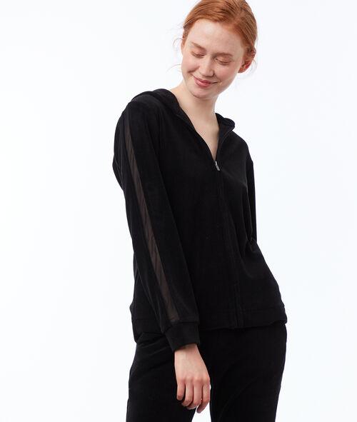 Aksamitna bluza z pasem z siateczki