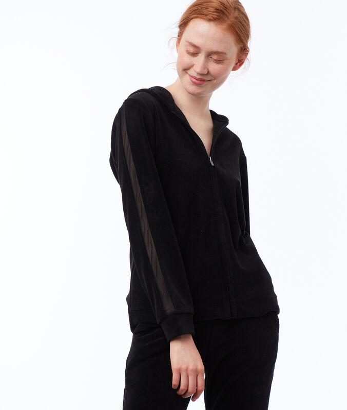 Aksamitna bluza z pasem z siateczki noir.