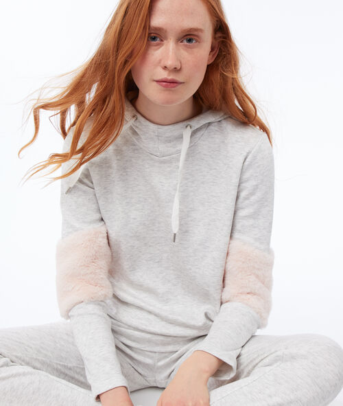 Bluza z kapturem, deseń typu melanż, wstawki ze sztucznego futerka