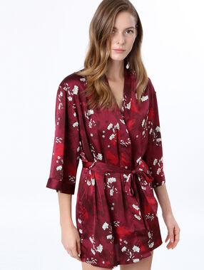 Satynowy szlafrok kimono bordeaux.