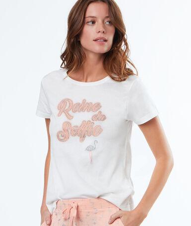 T-shirt z haftowanym napisem blanc.