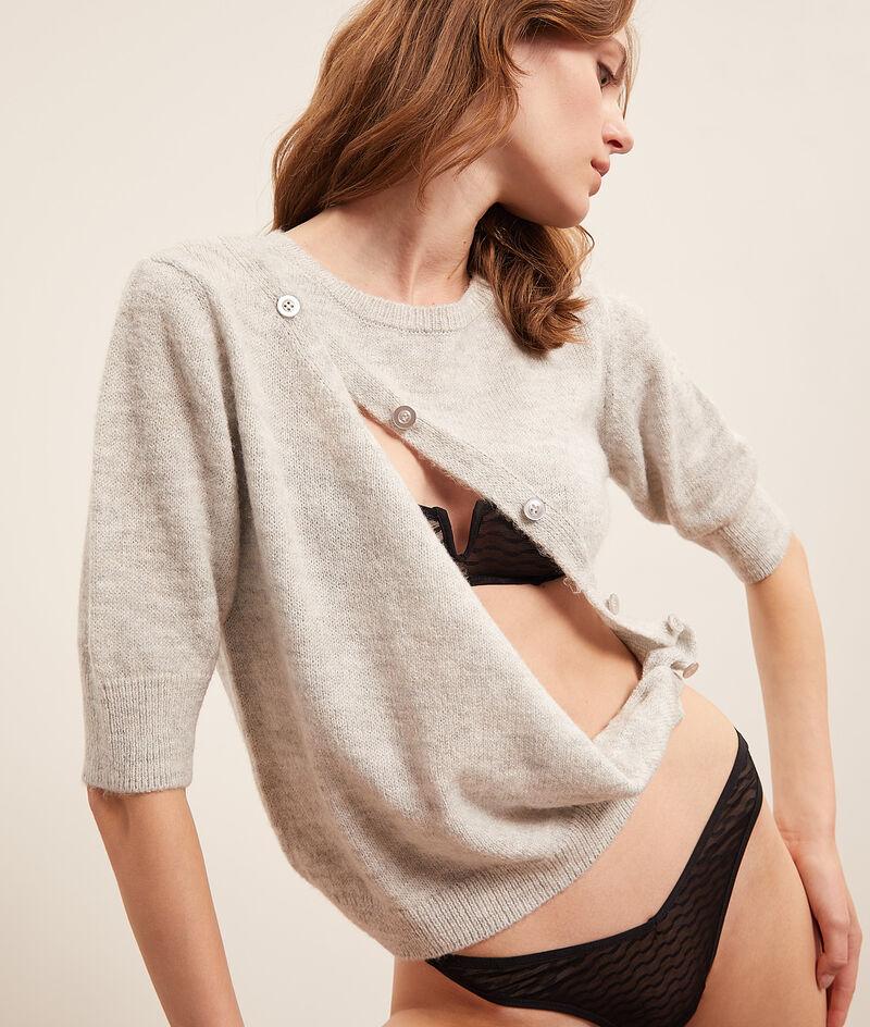 Dzianinowy sweter zapinany na guziki;${refinementColor}