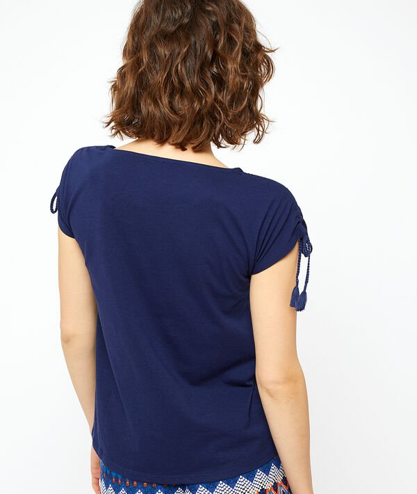 T-shirt z wiązanymi rękawami;${refinementColor}