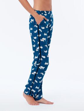 Spodnie w kotki z ozdobnym paskiem po bokach bleu canard.