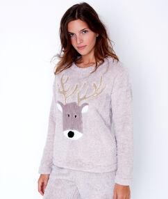 Dwuczęściowa piżama polarowa beżowy.