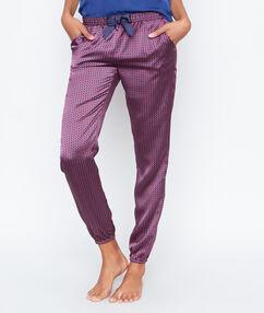 Satynowe spodnie w deseń rose.