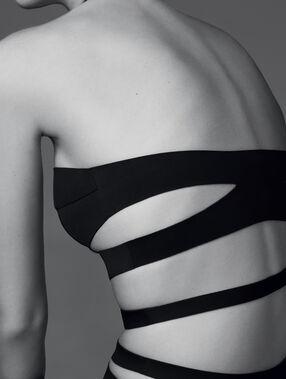 Body zdobione neoprenowymi wiązaniami noir.