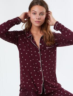 Mięciutka i delikatnie lejąca koszula od piżamy bordeaux.