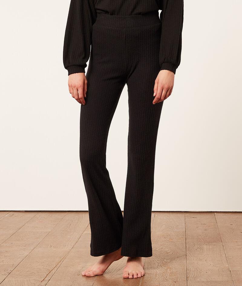 Prążkowane spodnie z rozszerzanymi nogawkami;${refinementColor}