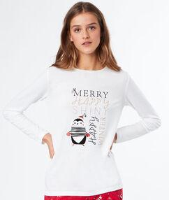 T-shirt z motywami świątecznymi blanc.