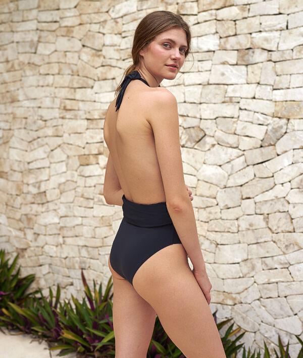 Jednoczęściowy kostium kąpielowy, ozdobny dekolt