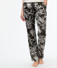 Wzorzyste satynowe spodnie kaki.