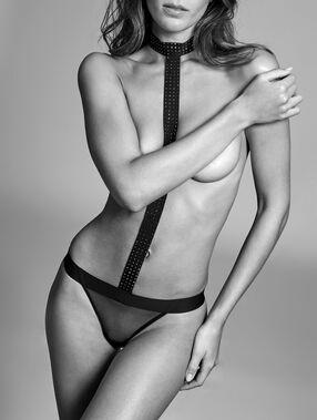 Body z dekoltem choker, tiul i kryształki noir.