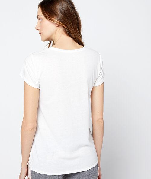 """T-shirt z nadrukiem pieska i napisem """"fatiguée"""""""