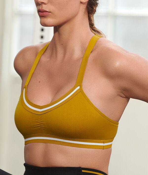 Biustonosz sportowy z wycięciem na plecach w stylu bokserskim - średnie podtrzymanie;${refinementColor}