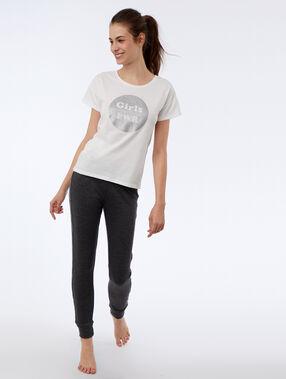 T-shirt z napisem 'girl pwr' ecru.