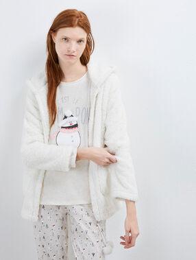 Piżama trzyczęściowa z nadrukiem bałwanka beige.