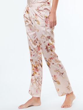 Satynowe spodnie w kwiecisty deseń rose poudre.