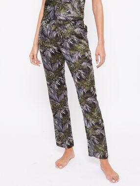 Satynowe spodnie z motywem liści noir.