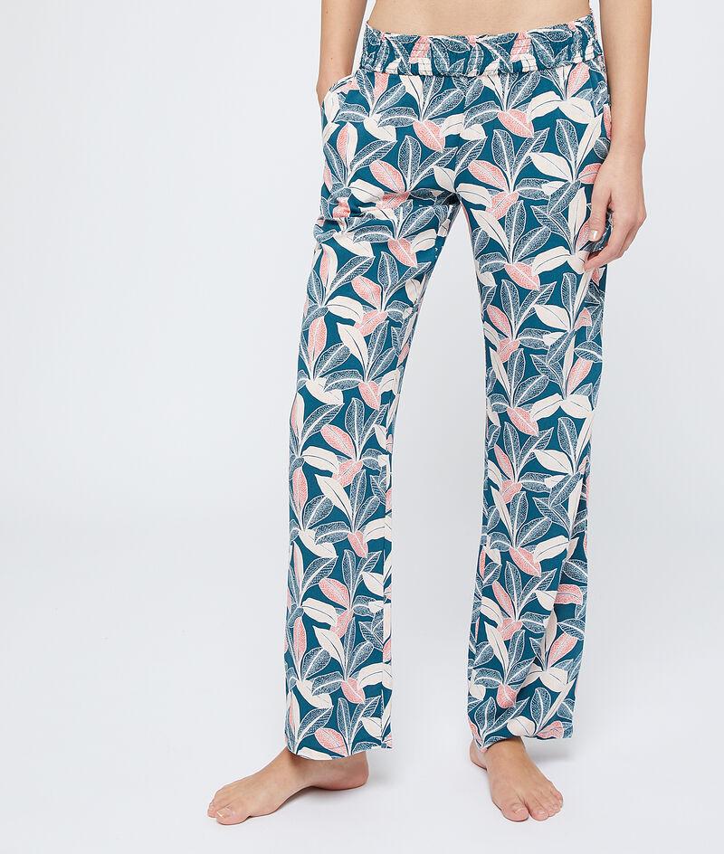 Spodnie z wiskozy Ecovero z nadrukiem liści;${refinementColor}