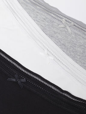 Majtki typu tanga - komplet 3 szt. noir/gris/blanc.