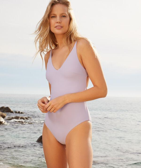 Jednoczęściowy kostium kąpielowy bez fiszbin z multi-ramiączkami skrzyżowanymi na plecach;${refinementColor}