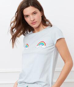 T-shirt z motywem tęczy bleu ciel.