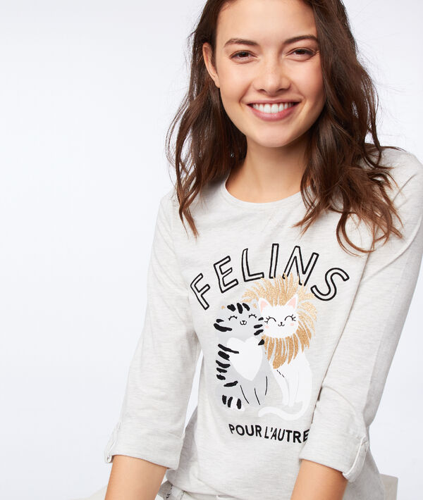 T-shirt z napisem, długie rękawy;${refinementColor}