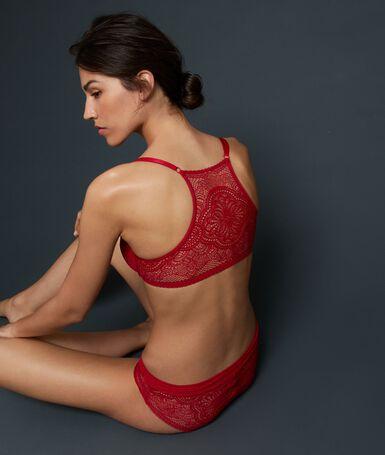 Klasyczny biustonosz usztywniany z koronki, wycięcie na plecach w stylu bokserskim rouge.