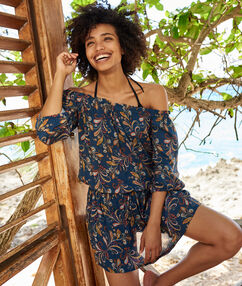 Sukienka plażowa z odkrytymi ramionami marine imprime.