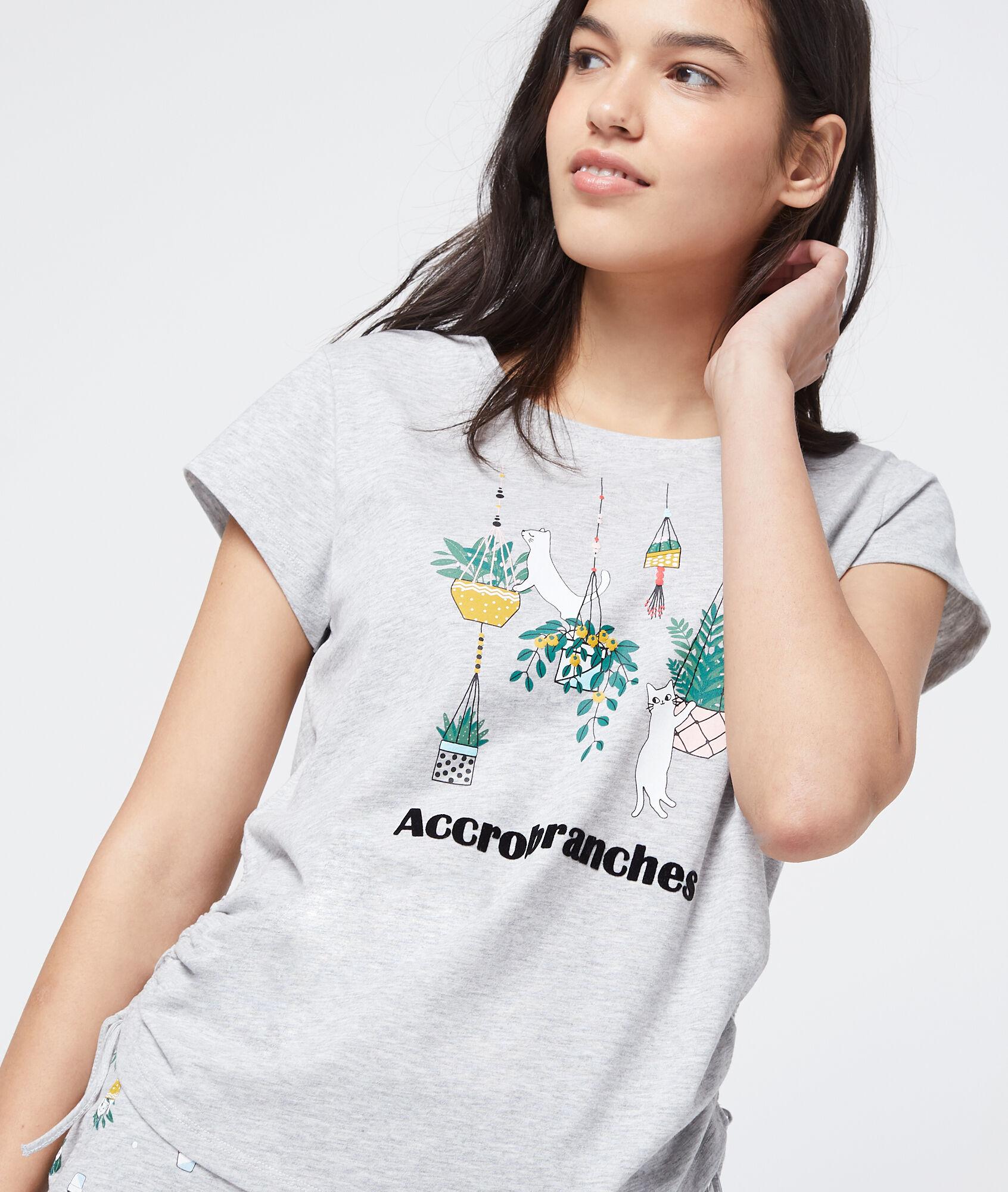 GLENDA T-shirt z bawełny organicznej z nadrukiem 'accrobranches'