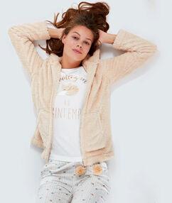 Pyjama 3 pièces à message beige.