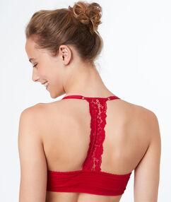 Biustonosz nr 5 - klasyczny biustonosz usztywniany z wycięciem na plecach w stylu bokserskim rouge.