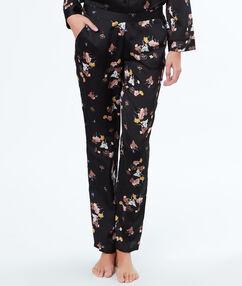 Satynowe spodnie w kwiecisty deseń noir.