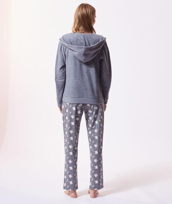 Piżama trzyczęściowa z napisem 'shhh', bluza z mikropolaru;${refinementColor}