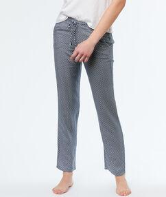 Wzorzyste spodnie z mikrofibry bleu.
