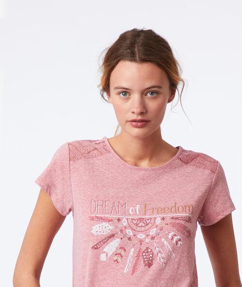 T-shirt z napisem i plecami z koronki