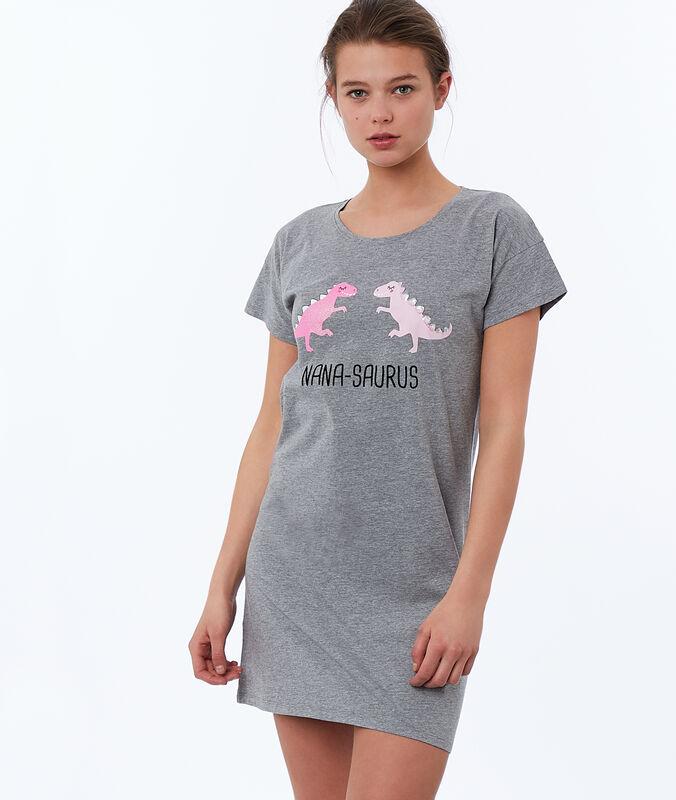 Koszulka nocna z nadrukiem dinozaurów gris.