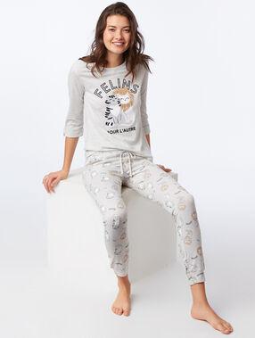 T-shirt z napisem, długie rękawy gris clair.
