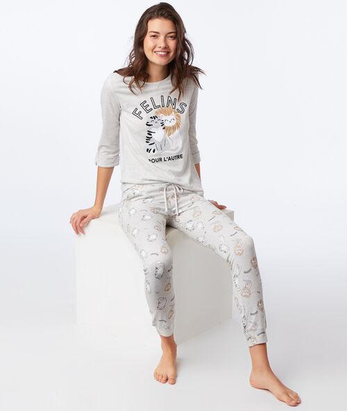 T-shirt z napisem, długie rękawy